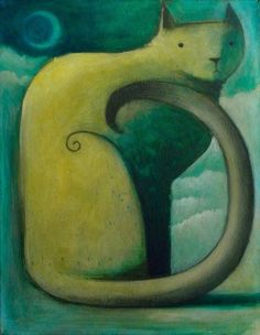 Yellow Cat, Crescent Moon by SethFitts on deviantART