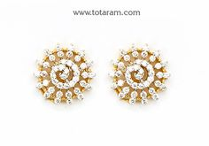 Diamond Earrings for Women in 18K Gold - DER847 - Indian Jewelry from Totaram Jewelers