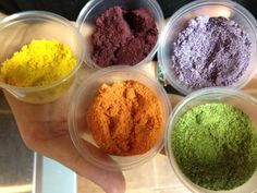 Veggie powders... Great for garnishing and making any dish pop with color. Dehydrate/blend. Yellow pepper, beet, purple cabbage,carrot, leek.