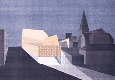 Drawing Architectural Nottingham Contemporary, Nottingham, Grande Bretagne, 2004 – Caruso St John, Visualisation by Frank Joachim Wössner Watercolor Architecture, Architecture Images, Architecture Graphics, Architecture Visualization, Architecture Drawings, Caruso St John, Nottingham Contemporary, Contemporary Art, Architect Drawing