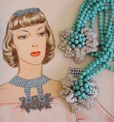 Miriam Haskell - Parure Collier, Bracelet et Collier Clips 'Lariat' - Perles Turquoises et Strass - Vers 1940 - Aquarelle Larry Austin