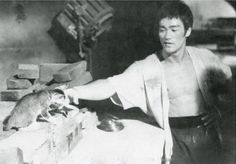 Bruce Lee and young friend.