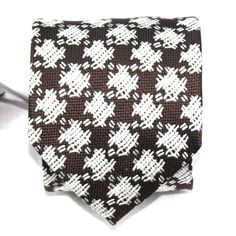 $260 NWT Tom Ford Brown White Geometric Pattern 100% Silk Neck Tie Made in Italy #TomFord #NeckTie