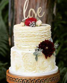 Buttercream rosette and ruffle cake ~ we ❤ this! moncheribridals.com