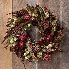 Pheasant feather, lemon leaves, straw flower, nigella, myrtle, lotus pods- Harvest Wreath