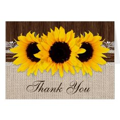 Country Wedding Thank You Cards Rustic Country Sunflower Wedding Thank You Card