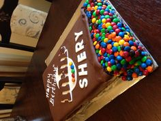 Chocolate and orange M & M's cake with chocolate ganache filling.