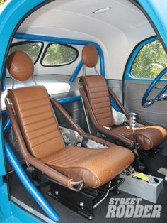 Willy's Gasser coupe interior with HotRod Zepplin seats,Custom seats by… Custom Car Interior, Truck Interior, 1948 Ford Truck, Bomber Seats, Car Furniture, Car Restoration, Car Upholstery, Buggy, Drag Cars