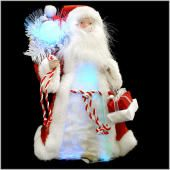 12 Inch Red And White Fiber Optic Santa Tree Topper