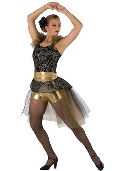 Style # 17262 MOVES LIKE JAGGER Black and gold metallic spandex short unitard with gold/silver ribboned sequined raschel knit overlay, black tulle and gold glimmer chiffon ruffle straps and adjustable black elastic straps. Separate matching bustle with gold metallic spandex ruched waistband and matching top skirt. Headpiece included. SC-XXLA T720/001-Black mesh tights, optional.