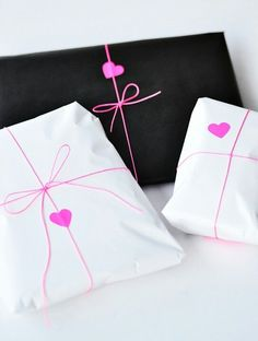Pink ribbon & heart stickers = simple and sweet