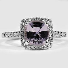 Platinum Sapphire Sonora Halo Diamond Ring // Set with a 7.5mm White Cushion Sapphire #BrilliantEarth