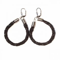 Leather earrings, braided round