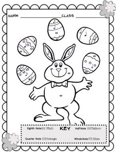 Music Coloring Sheets (Spring & Easter Color By Note ...