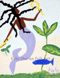 """Mermaid and Blue Fish"" by Kato Charles"