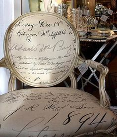 Fabulous chair with french script fabric