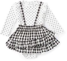 635586821 Jessica Simpson Baby Girls 12-24 Months Two-Piece Dotted Top and Jumper Set