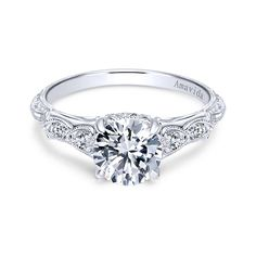 Gabriel - Chelsea 18k White Gold Round Straight Engagement Ring