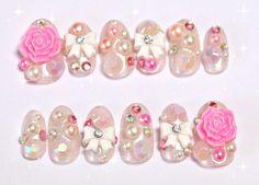 Decoden 3D nails hime gyaru long finger nails sweet by Aya1gou, $20.00