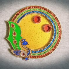 Diwali Diy, Diwali Craft, Diy Diwali Decorations, Festival Decorations, Arti Thali Decoration, Yellow Kurti, Raksha Bandhan, Wedding Crafts, Moroccan Style