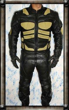 Batman leather motorcycle suit 2 pc black+gold version