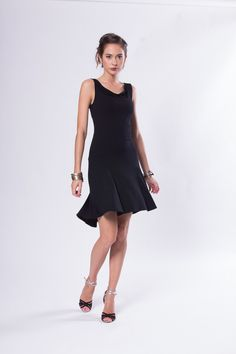 Ana Tango Dress Cowl Neck Sleeveless Black with Godet from adelynsf