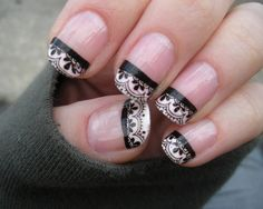 These lace nails are perfect for a fancy occasion!