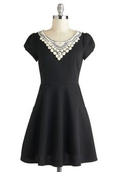 Collar should come off. Could have removable long sleeves and hem flounce or waist embelishment (also known as a belt or sash :-)  Pearl of the Moment Dress, #ModCloth