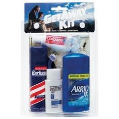 TRAVEL KIT MEN'S MEDIUM by convenience. $8.92. It is easier to pack than full size products and help in supplying the comforts of home while traveling.. Get Away Hair Care Men Travel Kit help in supplying the comforts of home while traveling.. Razor plus travel guide.. INDICATIONS: Get Away Hair Care Mens Travel Kit, # 01 is easier to pack than full size products and help in supplying the comforts of home while traveling. It includes: Pantene shampoo plus conditioner of 1 Oz.