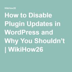 How to Disable Plugin Updates in WordPress and Why You Shouldn't | WikiHow26