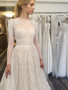 chana marelus fall 2019 bridal illusion long sleeves sheer jewel neck semi sweetheart neckline fully embellished a line ball gown wedding dress elegant romantic chapel train mv -- Chana Marelus Fall/Winter 2019 Wedding Dresses Moonlight Couture, Bridal Gowns, Wedding Gowns, How To Dress For A Wedding, Facon, Timeless Fashion, Bridal Style, Marie, Ball Gowns