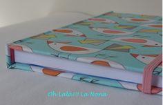 Encuadernación artesanal con tela de algodón, cierre con goma