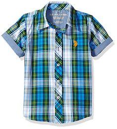 U.S. Polo Assn. Little Boys  Cotton Plaid Short Sleeve Wo... https 9c6867d238301