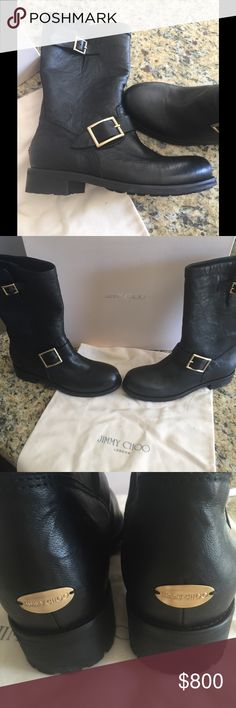 Jimmy Choo biker boots Black Jimmy Choo biker boots. Comes with box and dust bag. Jimmy Choo Shoes Combat & Moto Boots