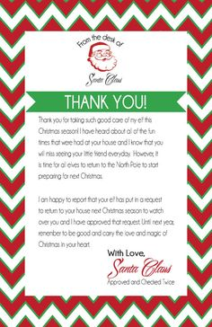 This letter can be instantly downloaded as a PDF and printed on regular 8.5 by 11 paper. It is from Santa, which is super cool! It also helps with fixing those sad faces that may be appearing because of the departure of the holiday elf. Enjoy and Happy Holidays