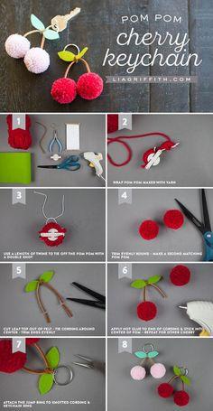 Tutorial for making a cherry pom-pom keychain. Tutorial for making a cherry pom-pom keychai. Pom Pom Crafts, Yarn Crafts, Paper Crafts, Pom Pom Diy, Pom Pom Garland, Canvas Crafts, Pot Mason Diy, Mason Jar Crafts, Cute Crafts