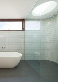 White mosaic rectangular feature wall tiles - Fenwick Street House by Julie Firkin Architects Next Bathroom, White Bathroom, Bathroom Wall, Bathroom Ideas, Bath Ideas, Bathroom Designs, Weatherboard House, Wall Tiles Design, Curved Walls