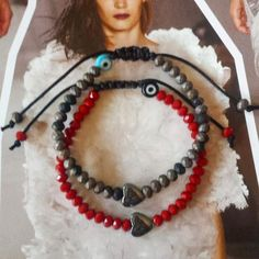 Handmade Bracelet with Red Crystals, Hematite Heart & Evil Eye, Macrame, Free Shipping by GlowHandmade on Etsy