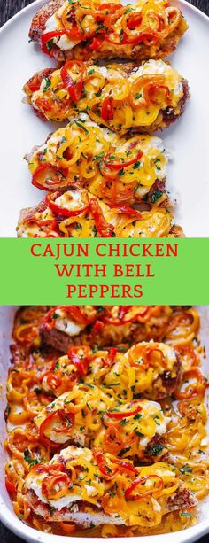 Creamy Cajun Chicken Bake with Bell Peppers and Cream Cheese. Easy and quick one-pan meal. Moist and juicy chicken breasts are seasoned wi. Stuffed Bell Peppers Chicken, Stuffed Peppers With Rice, Sausage Peppers And Onions, Stuffed Pepper Soup, Chicken Bell Pepper Onion Recipe, Easy Chicken Kebab Recipe, Cajun Chicken Recipes, Oregano Chicken, Lemon Chicken