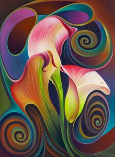 Calalily Print featuring the painting Dynamic Floral 4 Cala Lillies by Ricardo Chavez-Mendez Cross Paintings, Original Paintings, 5d Diamond Painting, Art Moderne, Fractal Art, Flower Art, Art Pictures, Photos, Saatchi Art