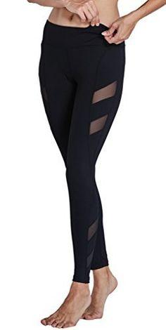 82d63b0969 Komprexx Womens Yoga Pants Mesh Workout Leggings Pockets Exercise Fitness  Gym Tights Activewear (17K-Black,S)