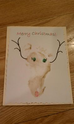 Child's foot print, super cute   Homemade Christmas Cards