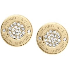 Michael Kors Crystal Stud Earrings , Gold ($105) ❤ liked on Polyvore featuring jewelry, earrings, gold, gold stud earrings, gold jewellery, stud earring set, womens jewellery und clear stud earrings