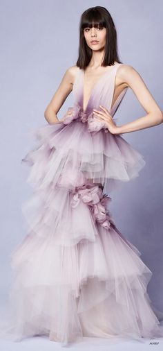 Gorgeous shades of lavender, violet and plum. Purple Fashion, Fashion 2018, High Fashion, Georgina Chapman, Elie Saab, Robes Glamour, Bridal Gowns, Wedding Dresses, Violet