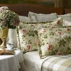 Lauren by Ralph Lauren Bedding; Yorkshire Rose Sage Green Floral Euro European Sham