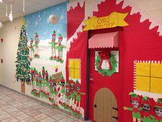 Christmas classroom door. Santa's workshop