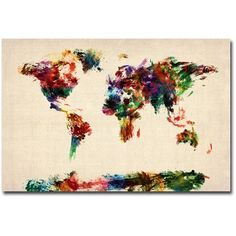 Trademark Art Abstract Painting World Map Canvas Art by Michael Tompsett, Size: 16 x 24, Multicolor