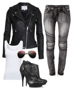 """""""Sexy Biker Chick"""" by amanda-mabes ❤ liked on Polyvore featuring Balmain, Boody, McQ by Alexander McQueen and Revo"""