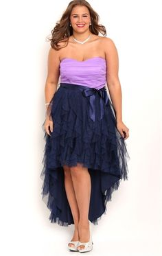Plus Size Strapless High Low Two Tone  Homecoming Dress with Tie Waist