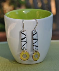 Black and White Sgraffito Dangle Earrings by lonesomedovedesigns, $50.00